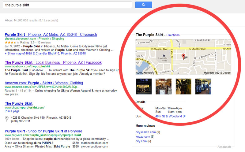example of google listing